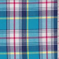 *4 1/2 YD PC--Aqua Multi Plaid Shirting