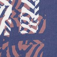 *1 3/8 YD PC--Navy/Brown/Ivory Print Silk Chiffon
