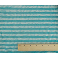 *3 3/4 YD PC--Turquoise/White Striped Jersey Knit Burnout