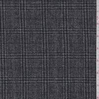*1 3/4 YD PC--Black/Grey Glen Plaid Wool Tweed