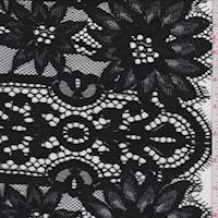 *2 5/8 YD PC--Black Floral Stripe Scalloped Lace