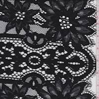 *2 5/8 YD PC--Black Floral Stripe Scalloped Lace