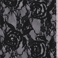 *1 3/4 YD PC--Black Embroidered Rose Stretch Mesh