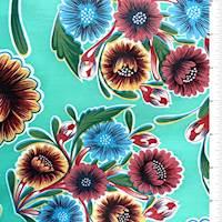 *5/8 YD PC--Seafoam Floral Oilcloth