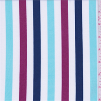 *4 3/4 YD PC--White/Turquoise/Berry Stripe Activewear