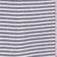 *1 7/8 YD PC--White/Grey Heather Stripe Rib Jersey Knit