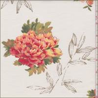 *4 1/2 YD PC--Ivory/Orange Floral Cotton Velveteen
