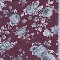*2 1/2 YD PC--Heather Maroon Floral French Terry Knit
