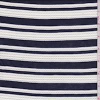 *2 YD PC--Navy/White Mesh Stripe Jersey Knit