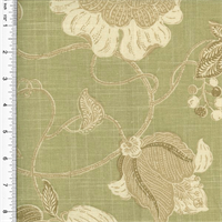 *2 Yard Piece--Designer Cotton Green/Beige Floral Print Home Decorating Fabric