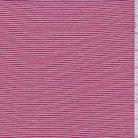 *1 1/8 YD PC--Brick/White Stripe Rib Knit