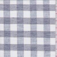 White/Pewter Check Linen Blend