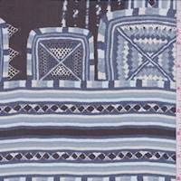 Black/Sky Cube Stripe Silk Chiffon