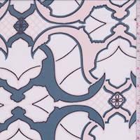 Pale Pink/Slate Blue Baroque Silk Chiffon