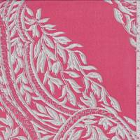 Geranium Red Vine Medallion Silk Chiffon