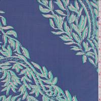 Marine Blue Vine Medallion Silk Chiffon