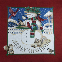 *6 Panel PC--Multi Christmas Snowman Tapestry Decorating Fabric