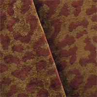 *4 3/4 YD PC--Spice Brown/Red Leopard Chenille Home Decorating Fabric