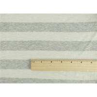 *4 YD PC--Pearl White/Fossil Grey Striped Slub Jersey