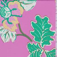 *1 YD PC--Pink Floral Stretch Sateen