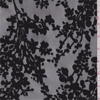 *1 YD PC--Black Floral Flocked Tulle