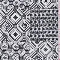 *3 5/8 YD PC--White/Black Patchwork Rayon Challis