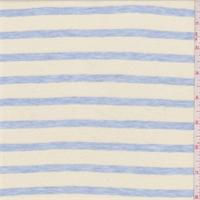 *1 1/4 YD PC--Pale Yellow/Blue Stripe Jersey Knit