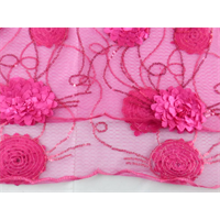 *1 YD PC--Fuchsia Pink Sequin Mesh w/ Floral Appliques