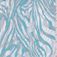 *1 YD PC--Aqua/Grey/Blue Zebra Stripe Chiffon