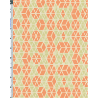 *2 3/4 YD PC--Orange/Green Victoria Albert and Museum Jones Cotton Print