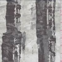 Pearl/Sage/Black Brushstroke Stripe Silk Chiffon