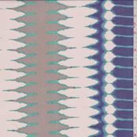 Beige/Violet Zig Zag Stripe Silk Chiffon