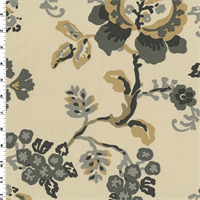 *6 YD PC--Ivory/Yellow/Gray Cotton Floral Print Decorating Fabric