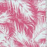 *1 3/8 YD PC--Salmon Pink/White Palm Rayon Challis