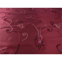 *4 3/8 YD PC--Burgundy Red Floral Embroidered Sequin Tissue Taffeta