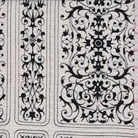 *2 YD PC--Gardenia Baroque Tile Silk Crepe de Chine