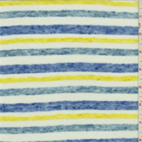 *3 1/4 YD PC--Blue/White/Yellow Striped Jersey Knit