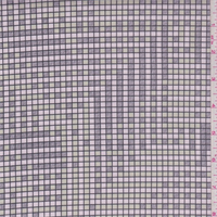 *1 3/4 YD PC--Pink/Sage/Grey Grid Print Stretch Twill