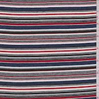 Blue/Red Multi Stripe Rayon Jersey Knit