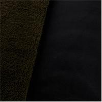 *4 1/2 YD PC--Soft Shell Sherpa Fleece - Black/Olive Green