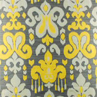 *6 YD PC--Gray/Yellow Fleur De Lis Ikat Jacquard Home Decorating Fabric