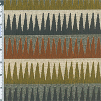 *5 YD PC--Rust Orange/Green/Gray Stalactite Stripe Home Decorating Fabric