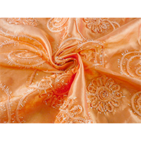*2 5/8 YD PC--Tangerine Orange Floral Embroidered Tissue Taffeta