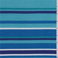 *2 3/4 YD PC--Aqua/Turquoise Stripe Tencel Jersey Knit