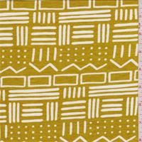 *1 3/4 YD PC--Dark Mustard Tribal Tencel Jersey Knit