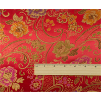 *5 5/8 YD PC--Red/Multi Floral Brocade