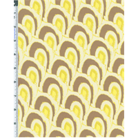 *1/2 YD PC--Taupe/Citrus Tina Givens Lullaby Scale Print Cotton Voile