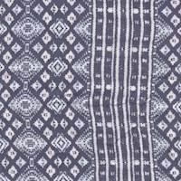*4 7/8 YD PC--Black/Ivory/Blue Striped Print Rayon Challis