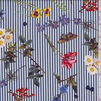 Slate Blue Stripe/Floral Cotton