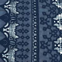Navy Blue Lace Embroidered Crinkle Chiffon